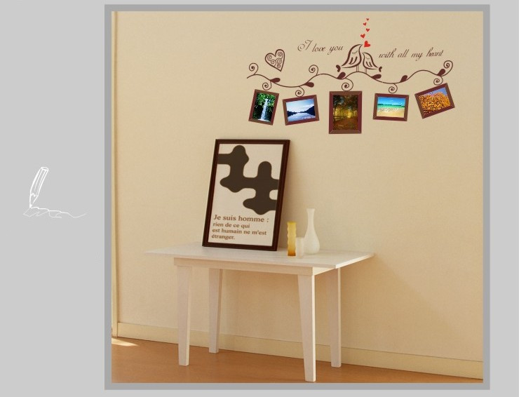 Photo Frame Home Decorative Wall Stickers Window Door Glass Decor Art Mirror Removable Decals Quotes Bathroom