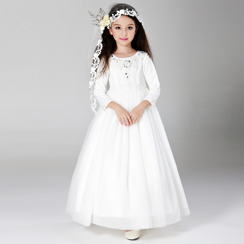 Simple Eleghant Long Formal Girl Dresses Children White ...