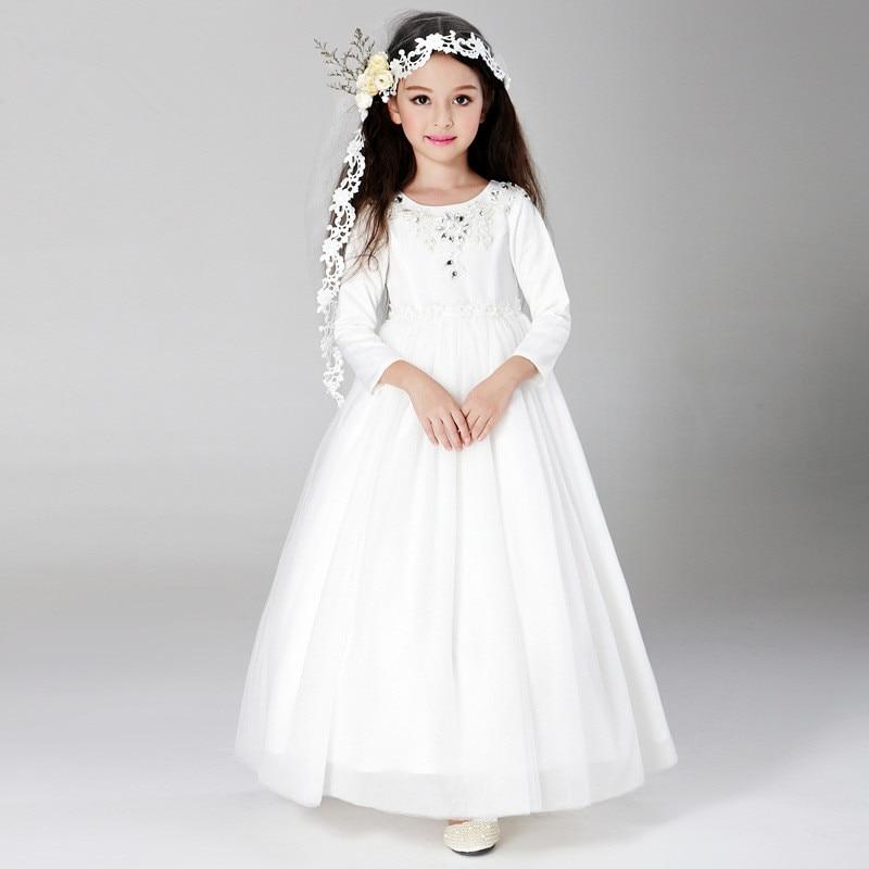 Childrens Dresses For A Wedding: Simple Eleghant Long Formal Girl Dresses Children White