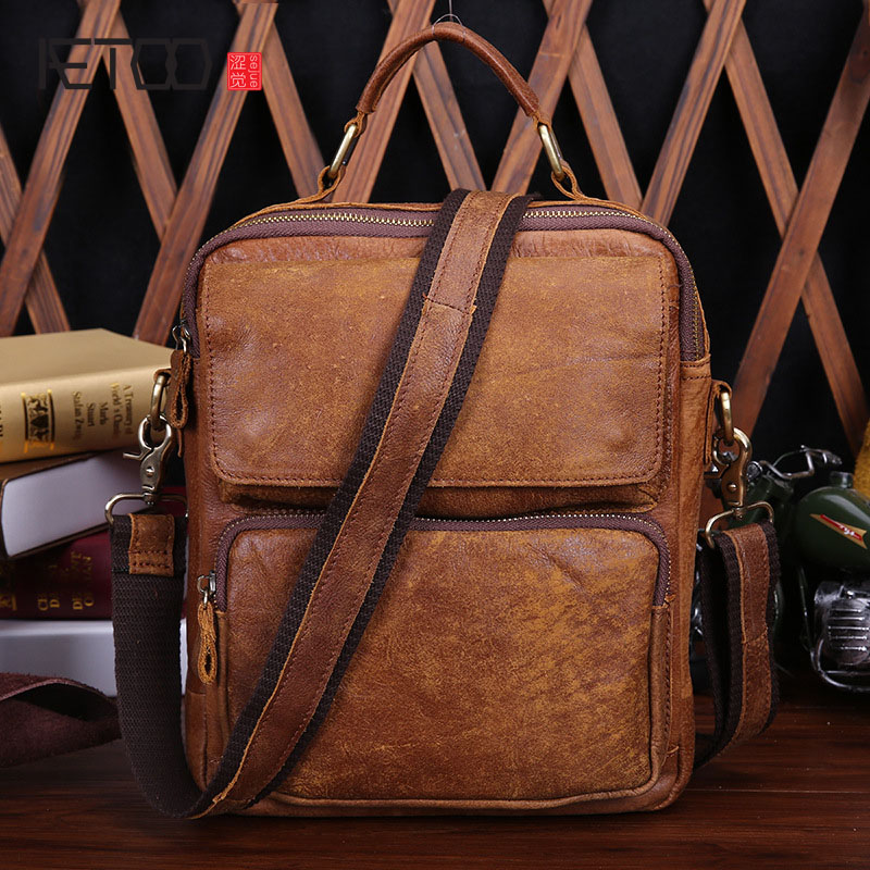 AETOO New Europe and the United States fashion leather men bag retro first layer of leather men shoulder Messenger bag europe and the united states fashion leather handbags 2017 new retro hit color decals leather small square bag shoulder bag