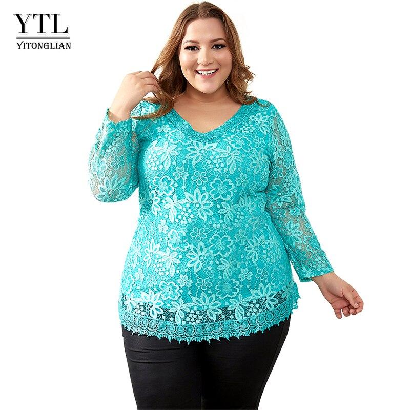2018 frauen Plus Größe Große Yards Tops Femme Elegante Blumen Spitze Frühling Herbst T-shirt Elastische Baumwolle T Shirts 6XL 7XL 8XL H009