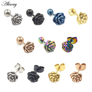 2pcs Romantic Rose flower 316L Stainless steel Men Women pierced Ear stud earrings Simple Cute Earrings Party Jewelry oorbellen