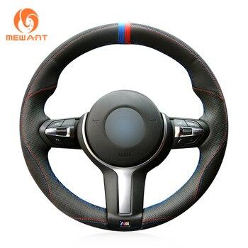Black Genuine Leather Black Suede Steering Wheel Cover for BMW M Sport F30 F31 F34 F10 F11 F07 X3 F25 F32 F33 F36 X1 F48 X2 F39