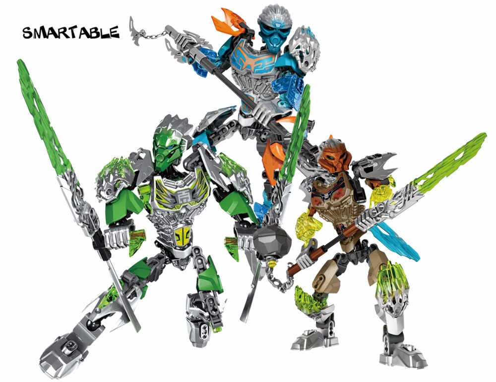 Smartable BIONICLE 3pcs Jungle Lewa Stone Pohatu Water Gali figures 610 Building Block font b toys