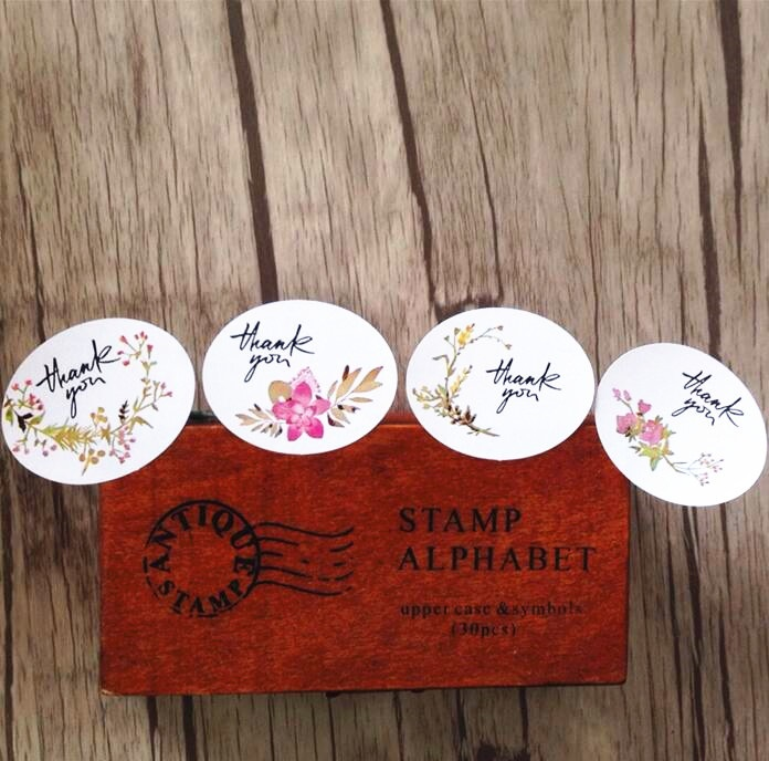 120pcs/lot Vintage flower Thank you Ellipse sealing label Adhesive Kraft Seal Sticker for Baking Gift Stickers Funny DIY work упаковочные этикетки thank you for you 100pcs lot 30 ne 0005