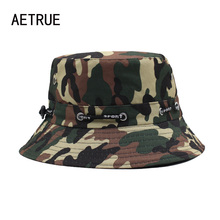2017 Brand Men Bucket Hat Women Bob Caps Panama Camouflage Sad Boy Flat Hats For Men Cap Snapback Cotton Boonie Sun Bucket Hat(China)