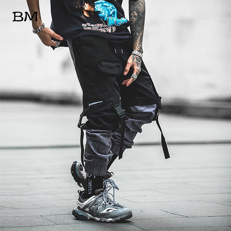 hip hop joggers men korean style streetwear techwear pants men modis casual cargo pants Fashion Spliced black kpop trousers
