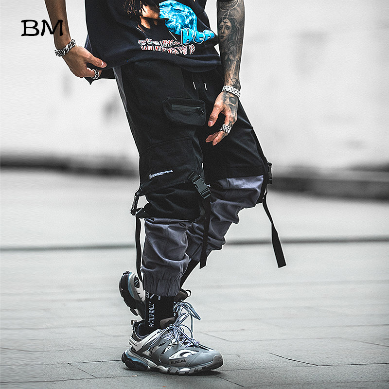 Hip Hop Joggers Men Korean Style Streetwear Techwear Pants Men Modis Casual Cargo Pants Fashion Spliced Black Kpop Trousers
