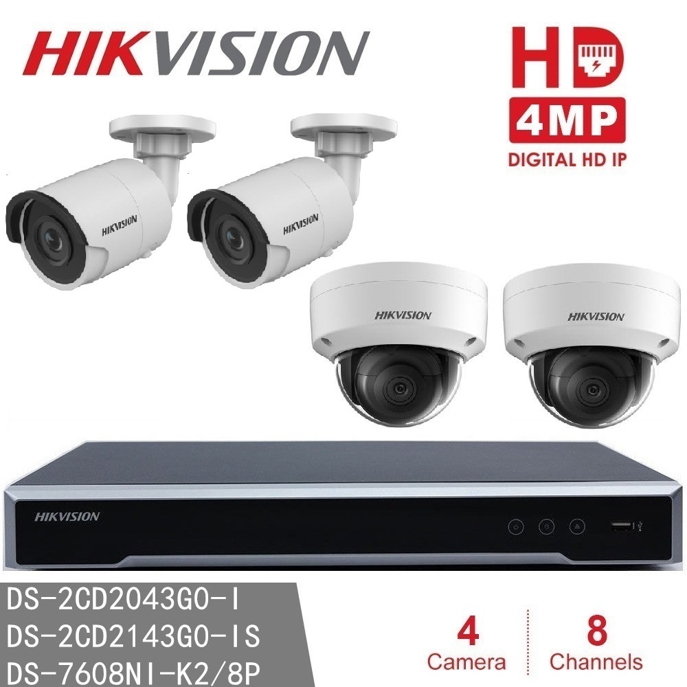 Hikvision IP Camera System CCTV NVR DS-7608NI-K2/8P 8CH 8POE + 4MP IP Camera Bullet / Dome for Indoor/Outdoor Night Version image