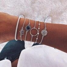 Cuteeco 6pcs/set Retro Simple Silver Color Lotus Bracelet for Women Flower Chain Beaded Bracelets Bangles Sets Boho Jewelry