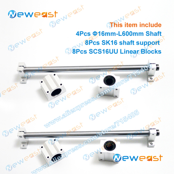 4Pcs Dia.16mm Diameter 16mm - L600mm Linear Shaft Hardened Rod + 8Pcs SK16 shaft rail support + 8Pcs SCS16UU Linear Blocks Unit
