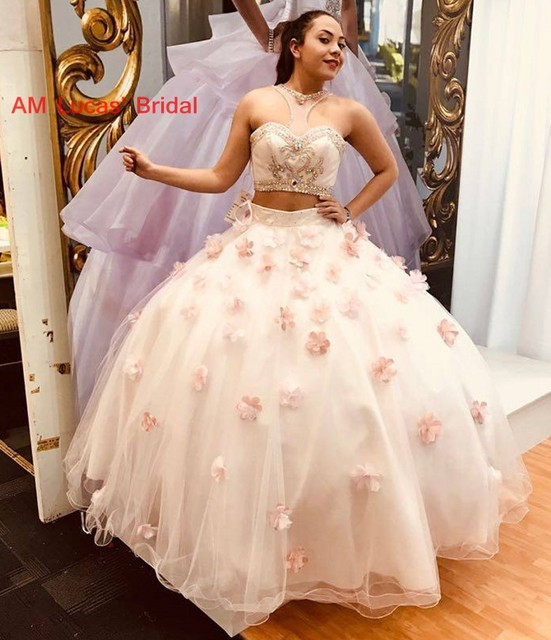 07a9cf311e99 Long Ball Gown Quinceanera Dresses 2 Pieces Handmade Flowers Sweet 16 Years  For 15 Year Birthday Party Gowns Vestido De 15 Anos