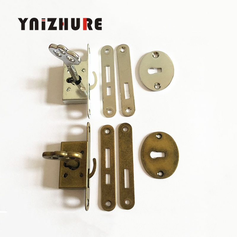 YNIZHURE 1PCS Classical lock Restore ancient ways small l Box lock Antique furniture counter Drawer Lock With key