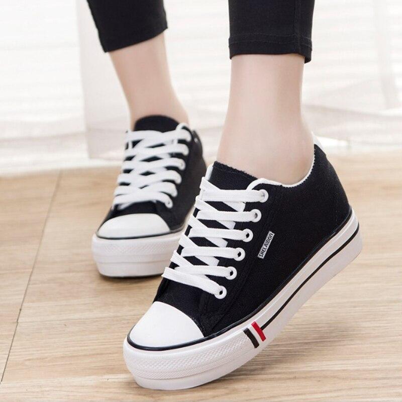 100% Wahr Qiaojingren Frauen Weiße Leinwand Schuhe Casual Turnschuhe Plattform Komfortabel Hoch Erhöht Dicken Boden Vulkanisierte Schuhe Schuhe Keine Kostenlosen Kosten Zu Irgendeinem Preis
