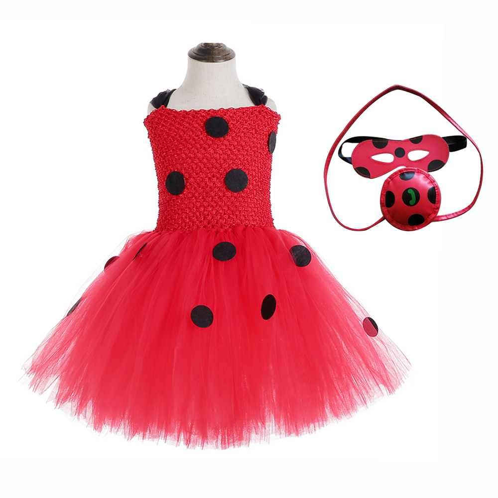 Red Ladybug Party Tutu Dress Kids Clothes Spring Knee Length Black Dot Halloween Costume with Mask Bag 12Y