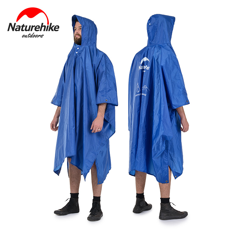 Naturehike Outdoor Mountaineering Walking 3 In 1 Poncho Triad To Groundsheet Awning Raincoat Outdoor Raincoat Factory Sell