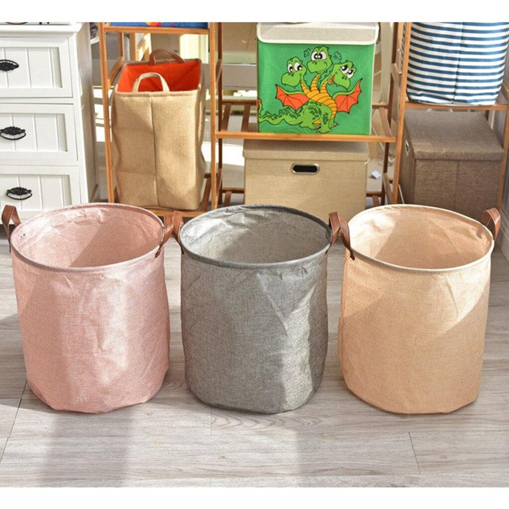 Cotton Linen Waterproof PE Coating Sundries Toy Storage Folding Storage Box Large Waterproof Folding Laundry Basket Clothes 4.12