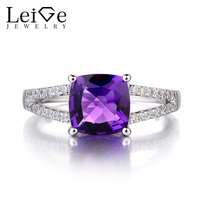 Leige Jewelry Natural Amethyst 925 Sterling Silver Ring Gemstone Cushion Cut Promise Engagement Rings for Women