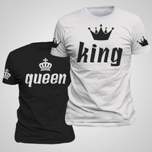 2017 Valentine Shirts Woman Cotton King Queen Funny Letter Print Couples Leisure font b T shirt