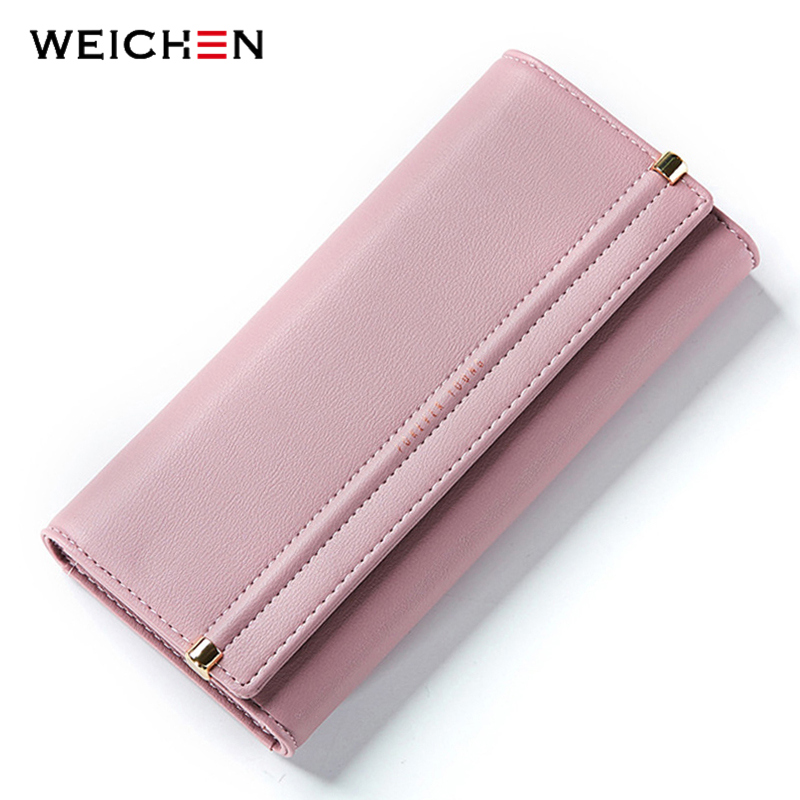 WEICHEN Brand Designer Women Wallet Many Departments Long Card  Holder Female Wallets Concise Style Ladies Clutch Purse