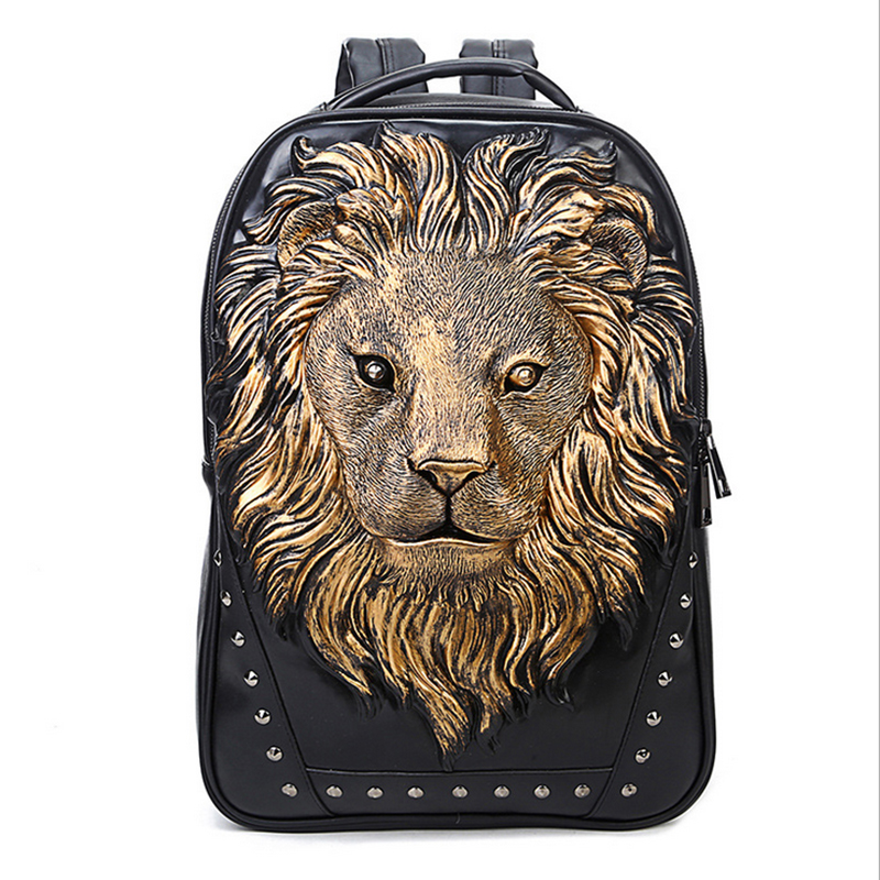 3D Lion Leather Backpacks Fashion Men School Computer Bags Women Travel Bags Personality Silver Gold Animal Print Bags Halloween cool men travel backpack men elephant animal bags 15 6 inch laptop computer bag fashion black gold silver rivet leather bags