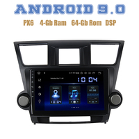 10,2 ips PX6 Android 9,0 автомобиля gps радио плеер для toyota Highlander 2009 2012 с DSP 4 + 64 Гб Wi Fi 4g usb Авто Радио стерео