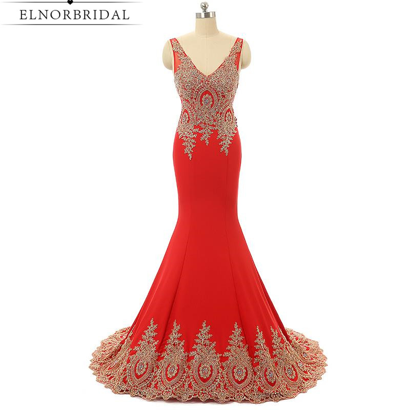 Modest Red Prom Dresses Mermaid 2017 Embroidery Robe De Soiree Longue V Neck Long Imported Party Dress Formal Evening Gowns