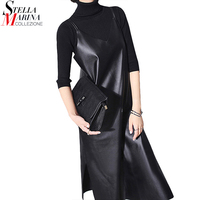 New 2016 European Woman Autumn Dress Black Solid Sleeveless Shoulder Straps Bottom Opening Leather Sexy Women