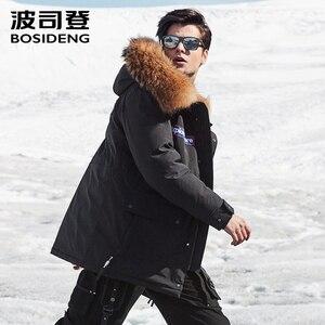 Image 3 - BOSIDENG NEUE rauen winter gans unten jacke für männer verdicken outwear echtpelz mit kapuze wasserdicht winddicht hohe qualität B80142143