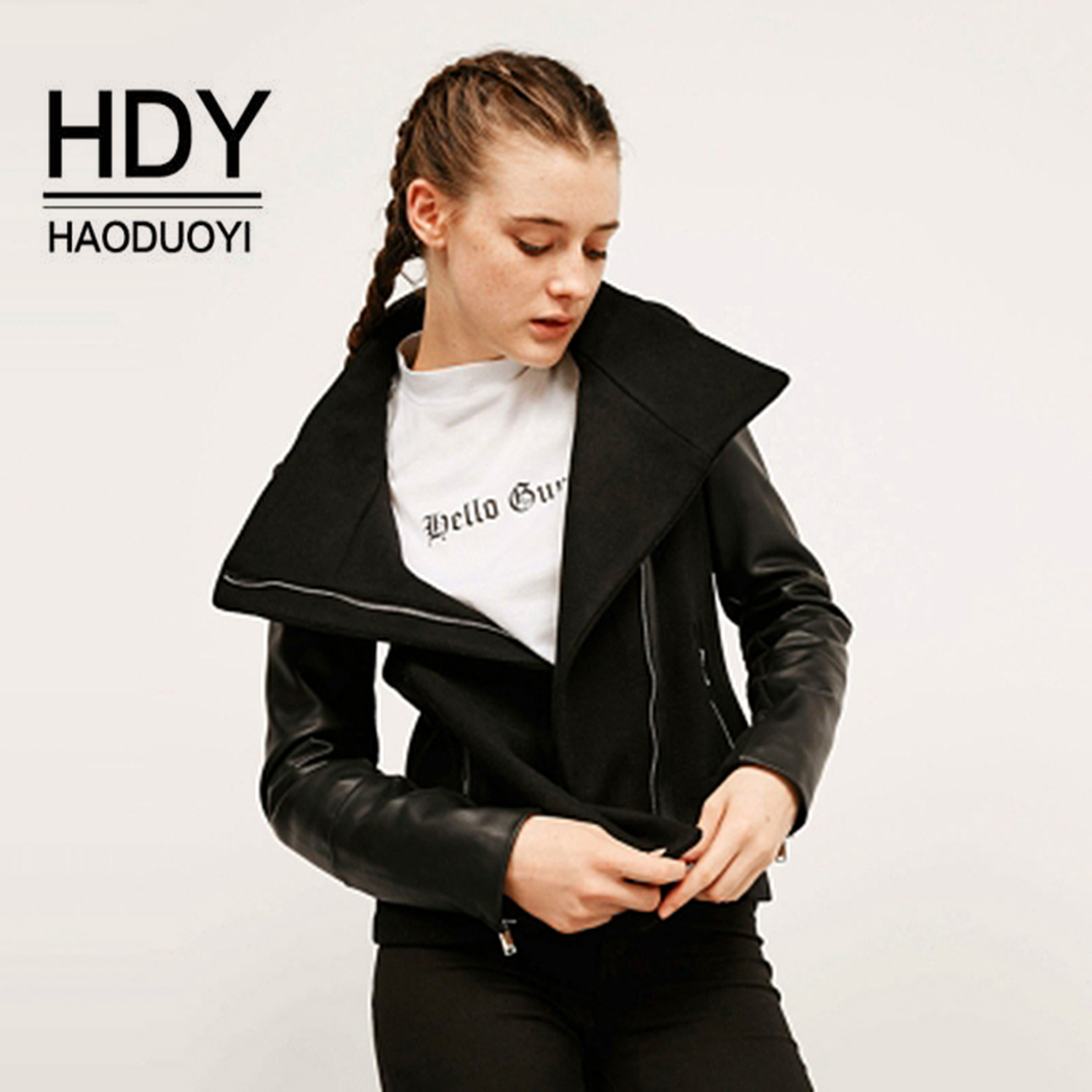 HaoDuoYi Women's wool+pu leather   Basic     Jackets   Coats Spring Biker   Jackets   Women Slim Outwears Side Zipper Black PU Woolen coats