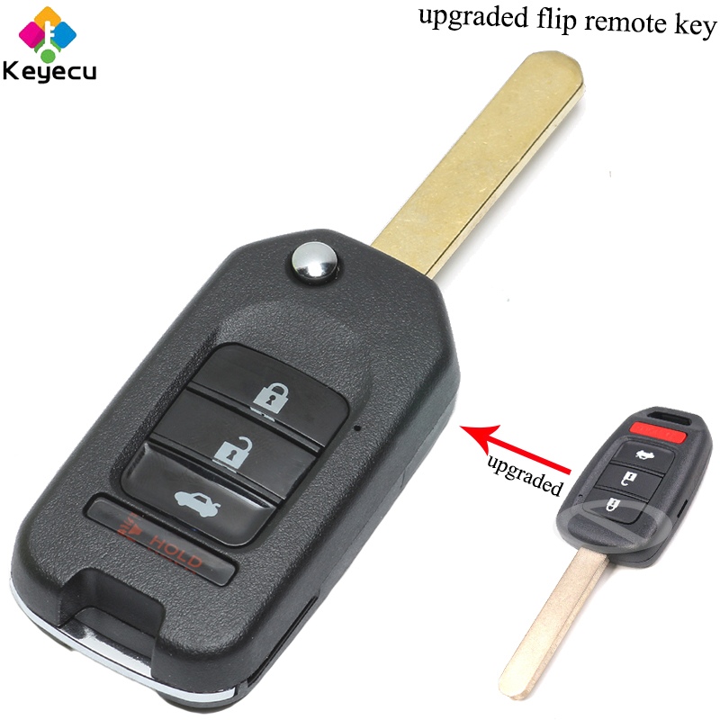 KEYECU Upgraded Flip/ Folding Remote Control Car Key With 3 1/ 4 Buttons & 433MHz & ID47 Chip - FOB for Honda Fit Civic XRV 2015