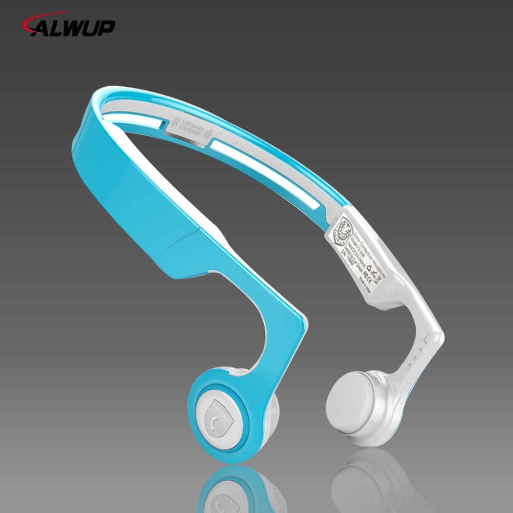 цена на ALWUP Bone Conduction Wireless Headphone Bluetooth 4.2 with Microphone Mp3 Player Running Sport Bluetooth Headset for Smartphone