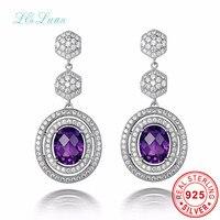 L Zuan 925 Sterling Silver Natrual 5 08ct Amethyst Purple Quartz Round Drop Earring Jewelry For