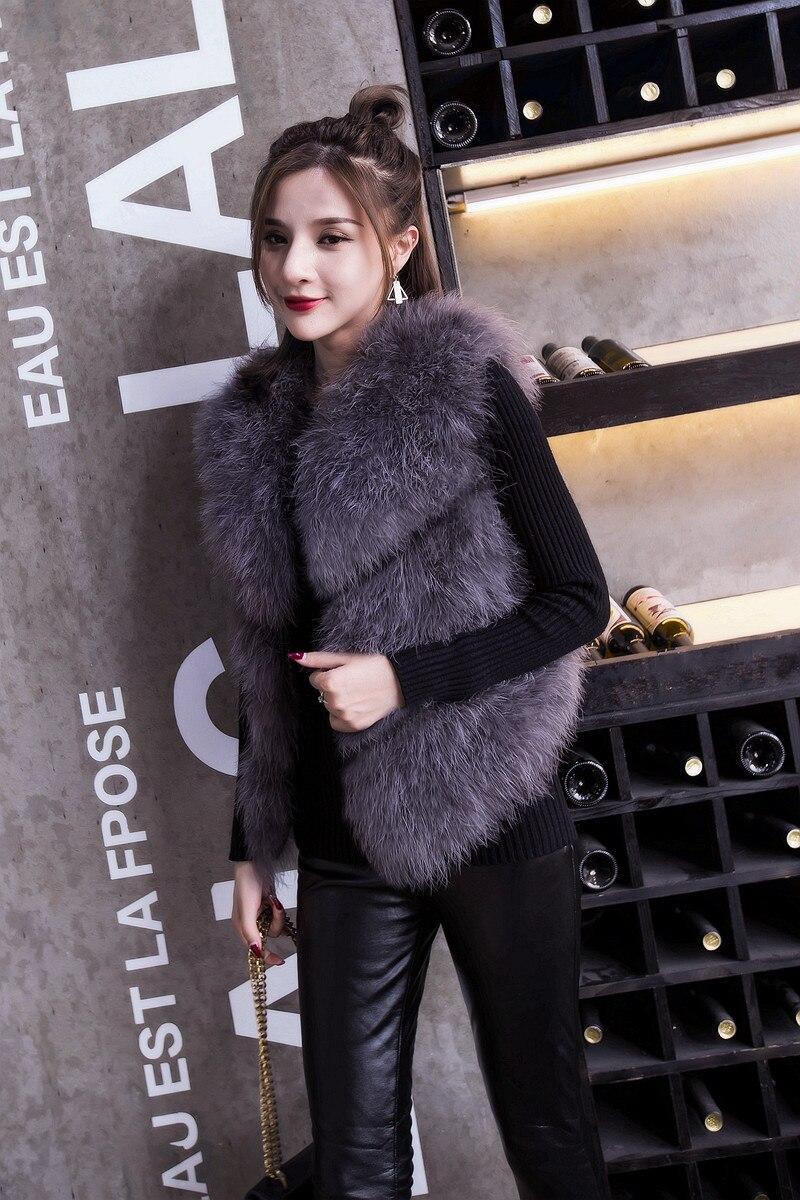 Серая модная куртка из натурального меха страуса tsr431