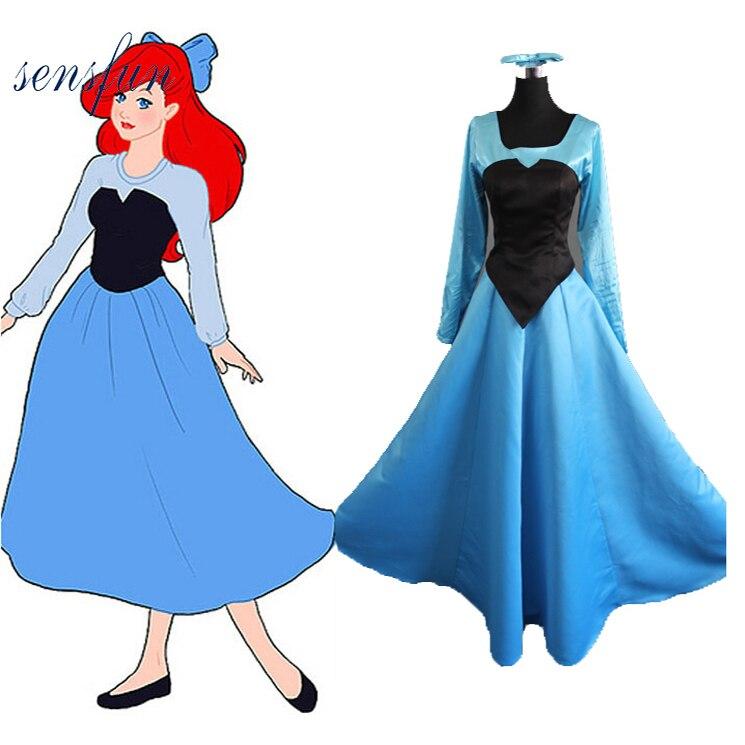 SensfunThe petite sirène Ariel sirène princesse beauté uniforme en tissu robe Halloween Cosplay Costume pour femme fille robe de soirée