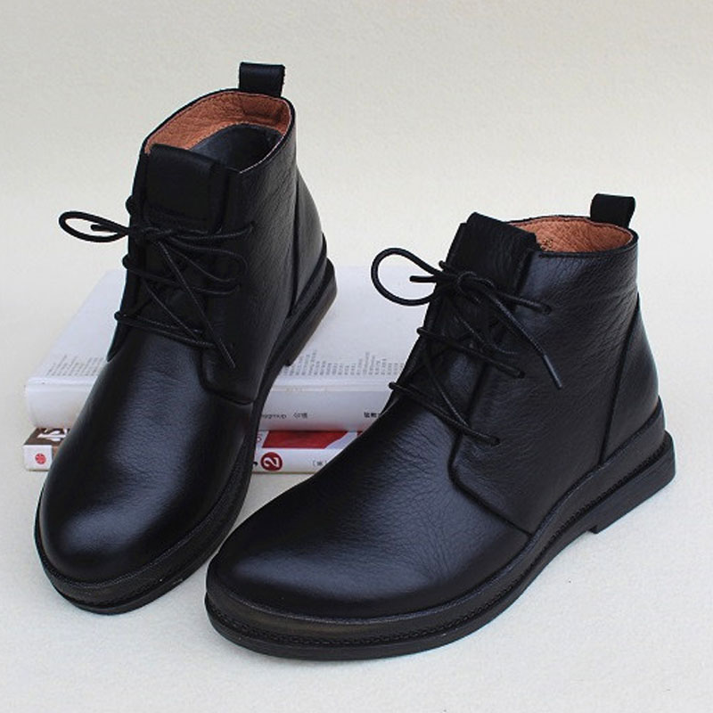 Zapatos de mujer botas de invierno de felpa 100% de cuero genuino con cordones botas de tobillo de mujer negro zapato femenino (1319 1)-in Botas hasta el tobillo from zapatos    1