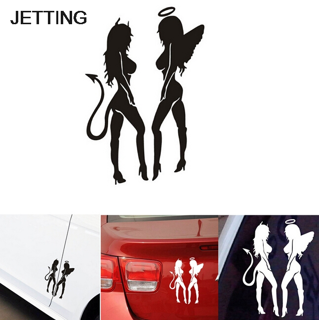 JETTING 1 pcs <font><b>Sexy</b></font> Waterproof Super Cool Vinyl Decals Car styling <font><b>Accessories</b></font> <font><b>Sexy</b></font> Girls Car Stickers Angel Devil Demons image