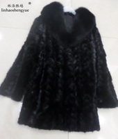 Linhaoshengyue 85cm long real Mink fur coat fox collar long sleeve