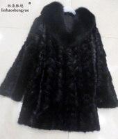Linhaoshengyue 85cm long real Mink fur coat fox collar long sleeve