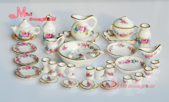 Free Shipping Porcelain Rose Tea Dinner Set Lots Of 40PCS Dining DIsh Plate 112 Scale
