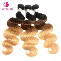 Hot Beauty Hair Ombre Brazilian Hair Weave Body Wave Bundles T1B 4 27 Human Hair Extensions