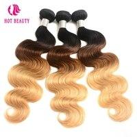 Hot Beauty Haar Ombre Braziliaanse Haar Weave Body Wave Bundels T1B/4/27 Human Hair Extensions 1 Stuk 3 Tone Blonde Niet-Remy haar