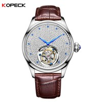 Super Men's High End Mechanical Watches Crystal Diamond Inlaid Dial Blue Pointer Men Tourbillon Watch Support Free LOGO Printed