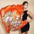 2016 зима высокое качество 100% натуральный шелк атласный Шарф, Шаль wrap женщины женский мода большой площади стиль шаблон Шарфы 105x105 СМ