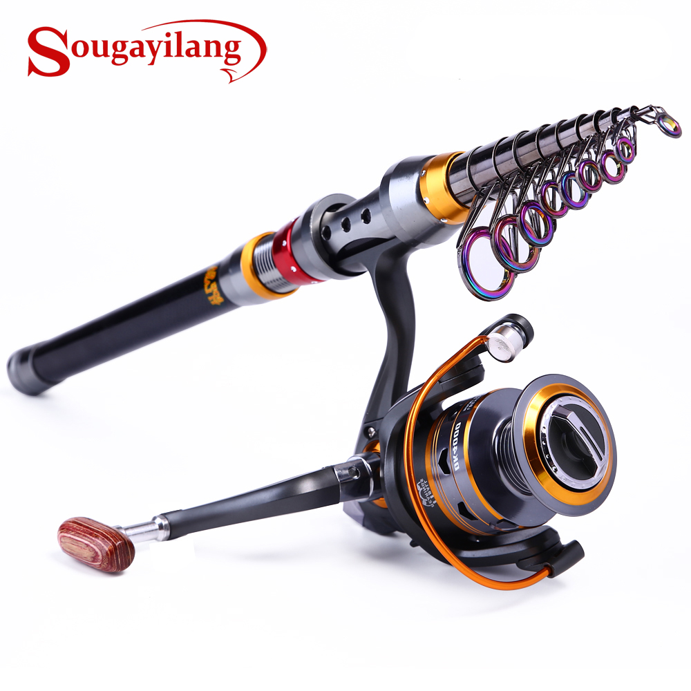 Sougayilang 1.8 3.6m Telescopic Rod and 10+1BB Reel Set and Fishing Rod of 99% Carbon Materials Carp Fishing Rod Combo De Pesca