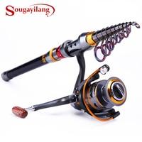 Sougayilang 1.8 3.6m Telescopic Rod and 10+1BB Reel Set and Fishing Rod of 99% Carbon Materials Carp Fishing Rod Combo De Pesca