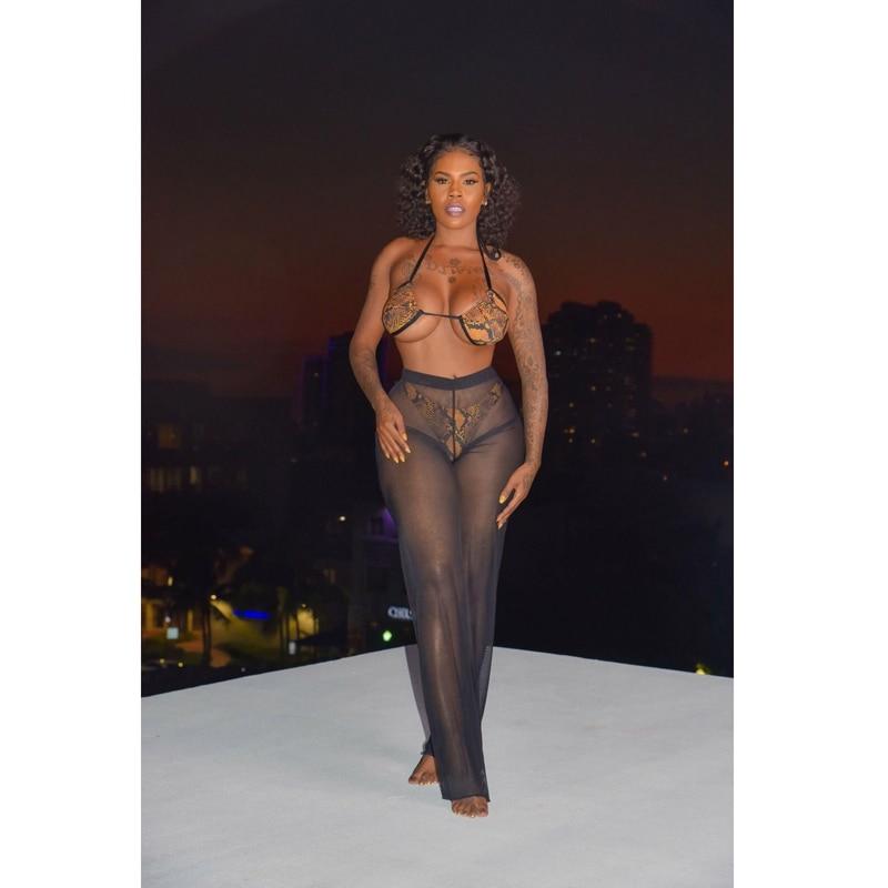 New Summer Women Ladies Sequined Mesh Sheer Pants Beach Bikini Cover Up Trousers