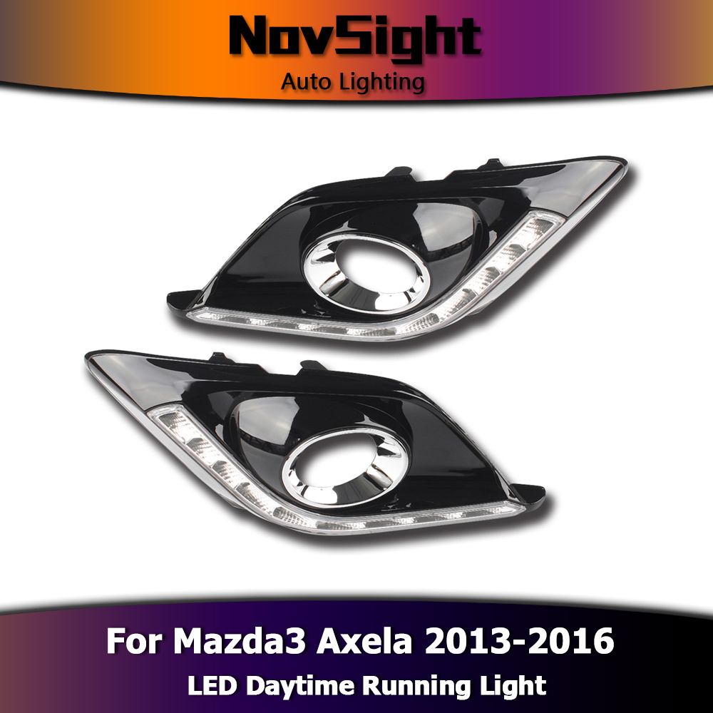 NOVSIGHT Auto Car Led Light DRL Daytime Running Lights Driving Fog Lamp White for Mazda 3 Axela 2013-2016 2pcs Set D25 icoco 3 led waterproof car light universal daytime running lights dc12v super white auto car fog lamps car styling