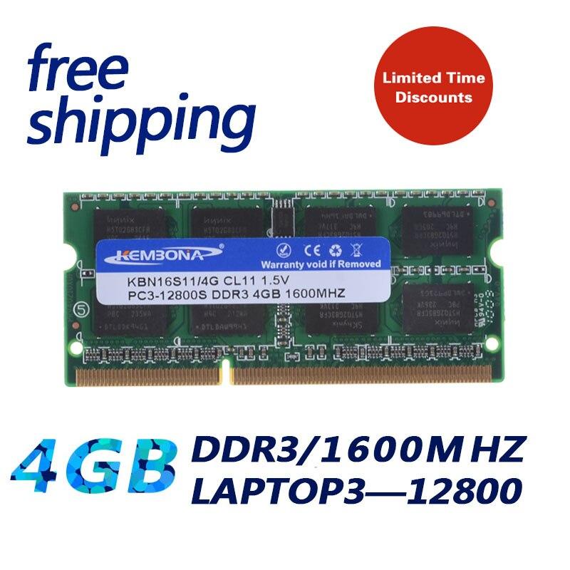 цена на KEMBONA free shipping sodimm notebook laptop ddr3 4gb 1600mhz pc3-12800 laptop ddr3 4g full compatible