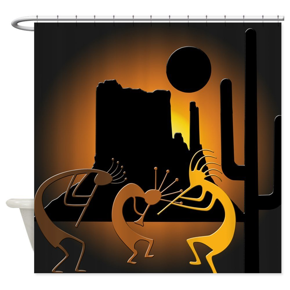 CafePress - Kokopellis In The Southwest - Decorative Fabric Shower Curtain